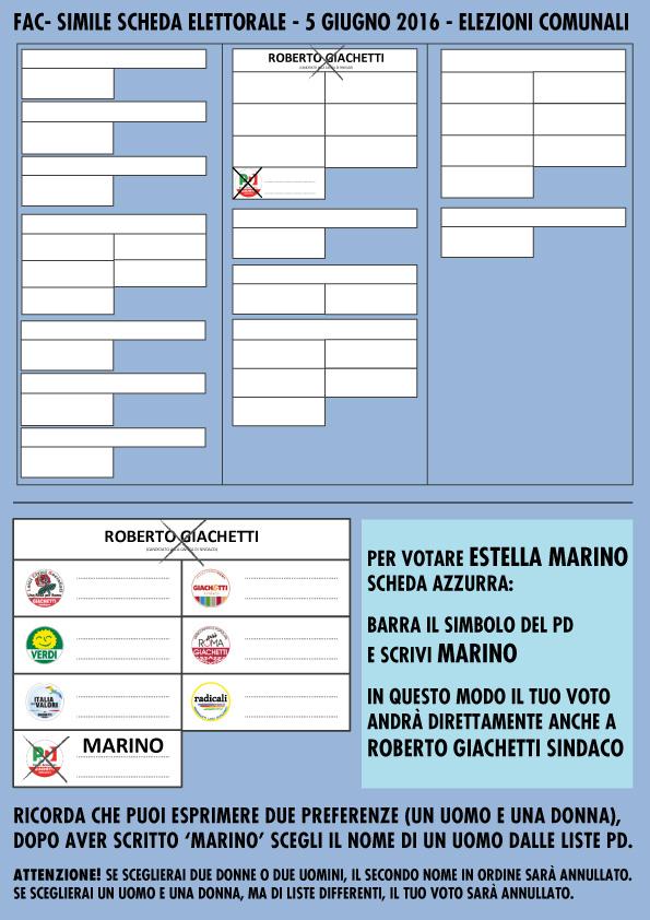 fac simile elezioni Roma 5 giugno